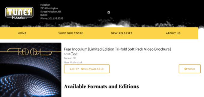 Fear Inoculum de Tool est en rupture de stock