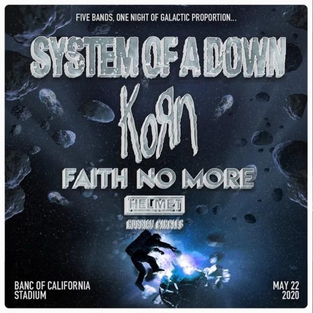 System Of A Down, Korn et Faith No More annoncent un gros concert à Los Angeles