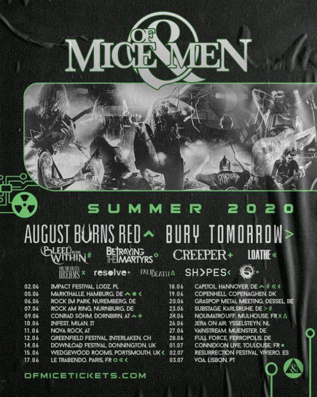 Of Mice & Men annonce 3 concerts en France (tournée européenne 2020)