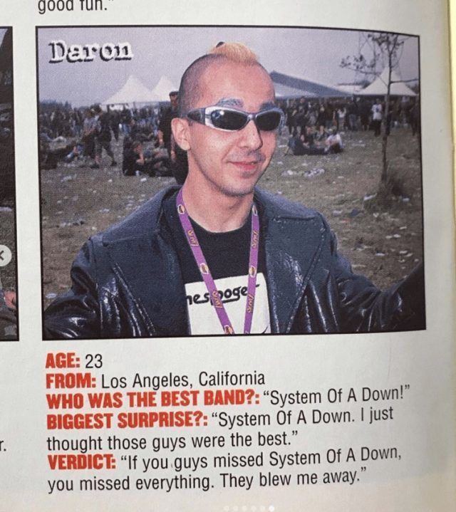 """Daron Malakian a été repéré dans un magazine Metal de 1999 : """"Mon groupe préféré est System Of A Down"""""""
