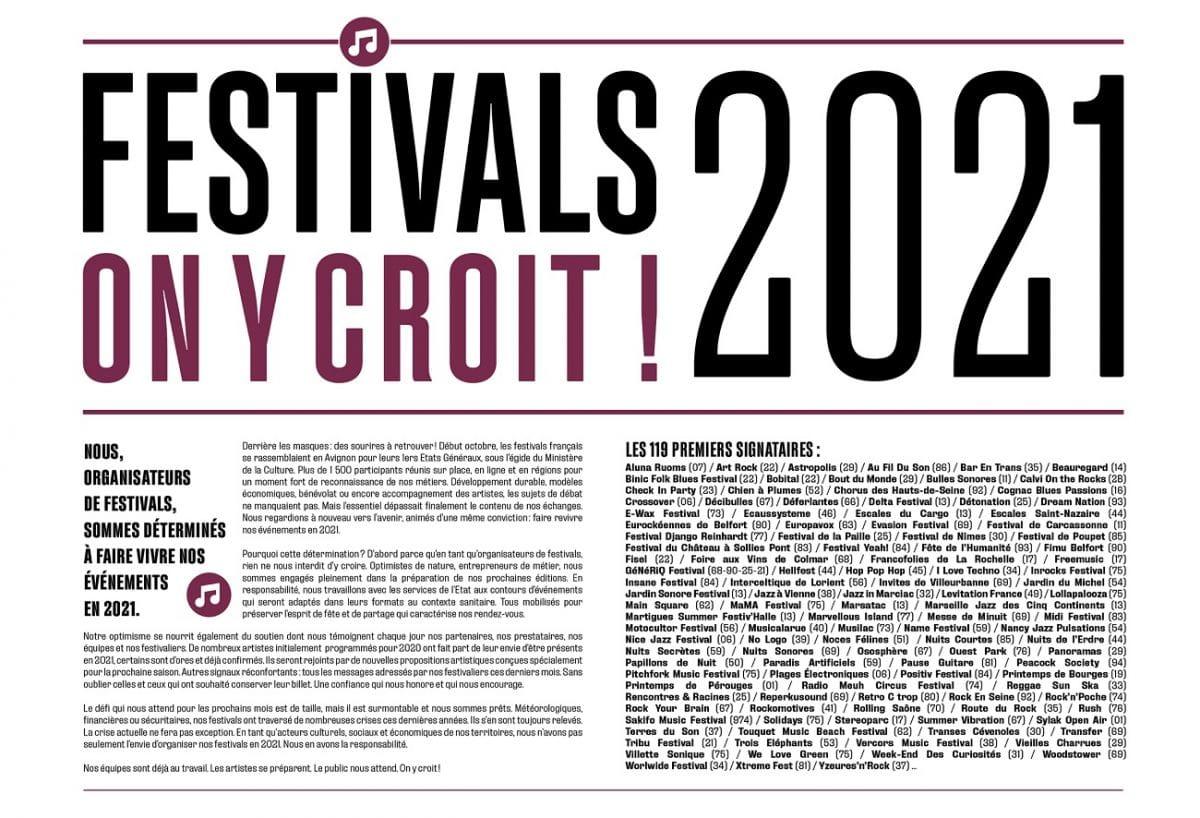 """Plus de 100 organisateurs de festivals s'unissent : """"Festivals 2021, on y croit !"""""""