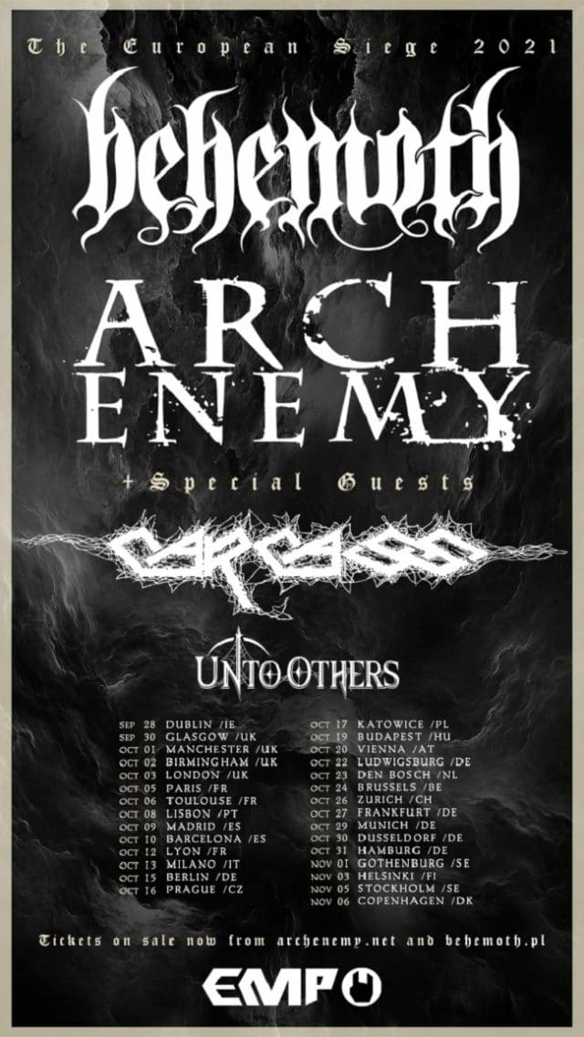 Behemoth, Arch Enemy et Carcass unissent leurs forces pour la tournée European Siege 2021