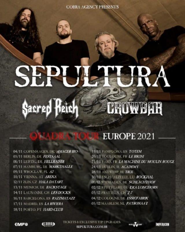 Sepultura annonce une tournée européenne pour l'automne 2021 avec Sacred Reich et Crowbar