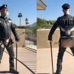 """Rob Halford, de Judas Priest, publie des photos de lui avec un pantalon en cuir troué à l'arrière : """"De quel côté voulez-vous me voir monter sur scène ?"""""""