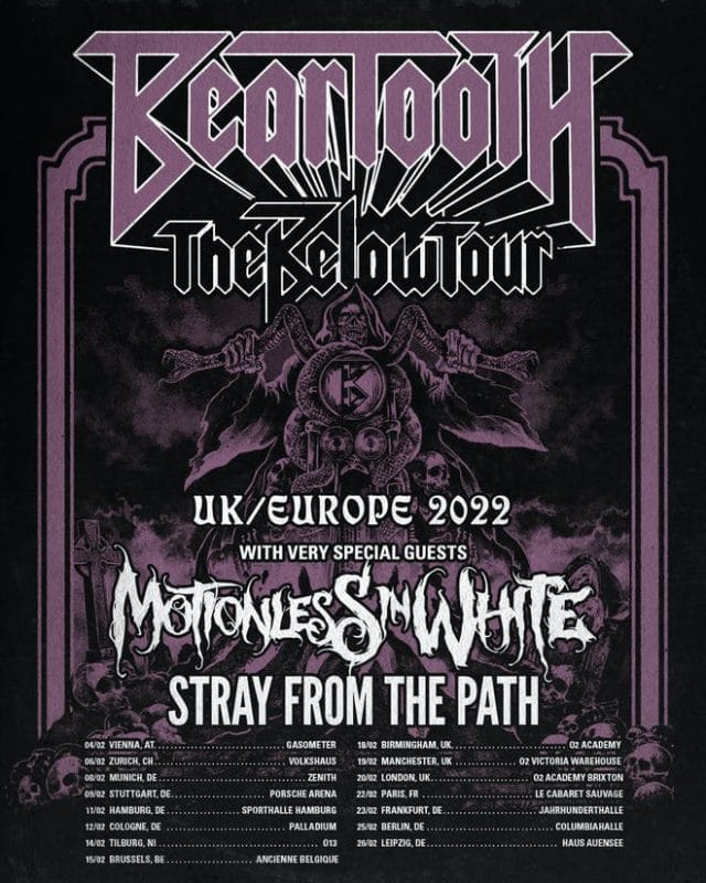 Beartooth annonce une tournée européenne avec Motionless In White et Stray From The Path
