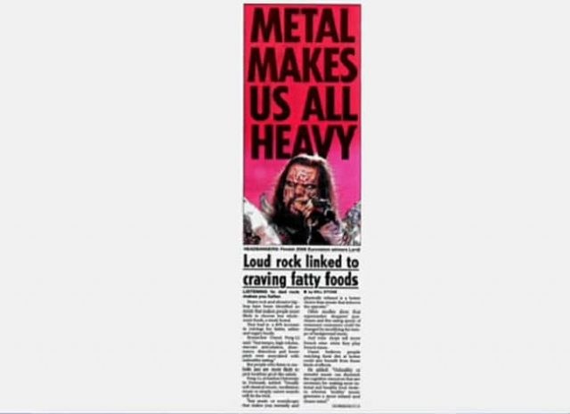 """Écouter du Metal fait grossir selon une """"étude"""" publiée dans un tabloïd britannique"""