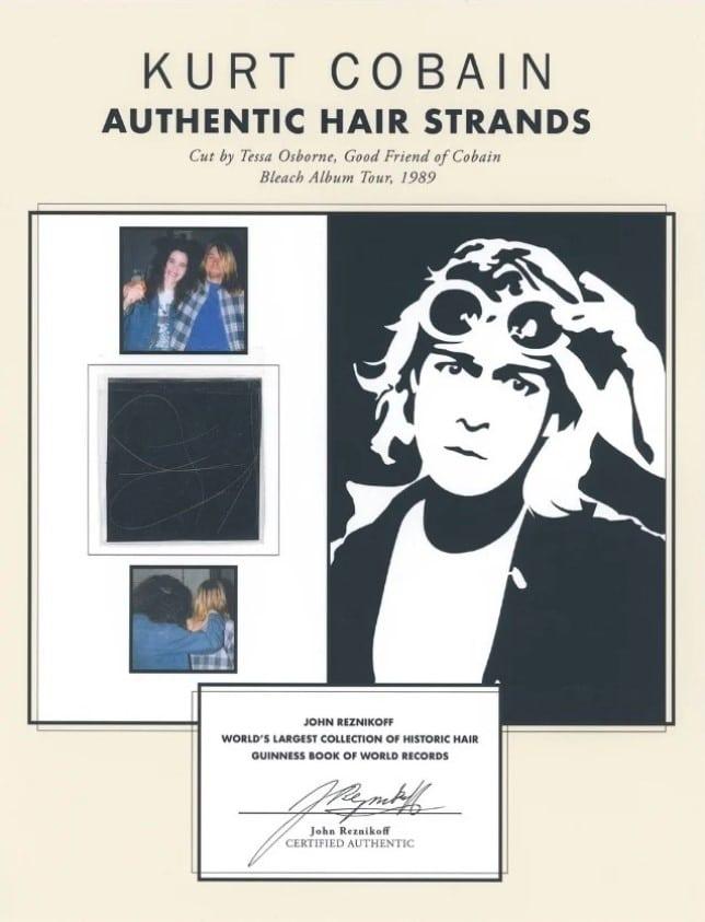 Six mèches de cheveux de Kurt Cobain (Nirvana) ont été vendues pour 14 000 dollars lors d'une vente aux enchères