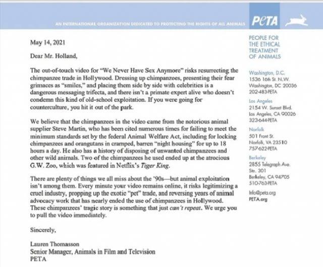 The Offspring est critiqué par PETA pour son récent clip vidéo avec des chimpanzés