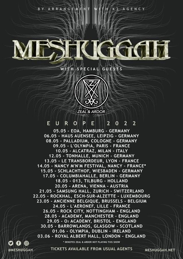 Meshuggah reporte sa tournée européenne à 2022 et ajoute des dates supplémentaires