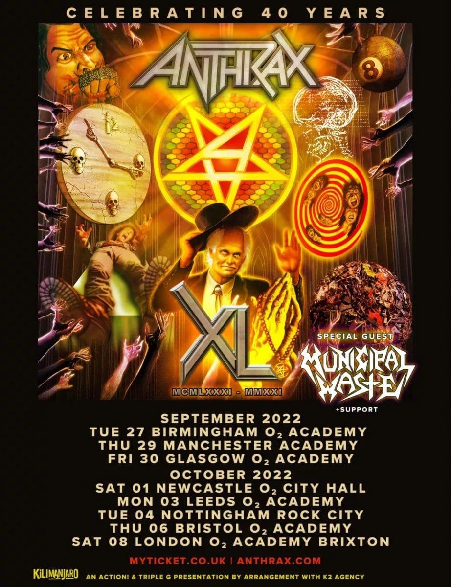 Anthrax annonce les dates de sa tournée européenne pour son 40e anniversaire en 2022 !