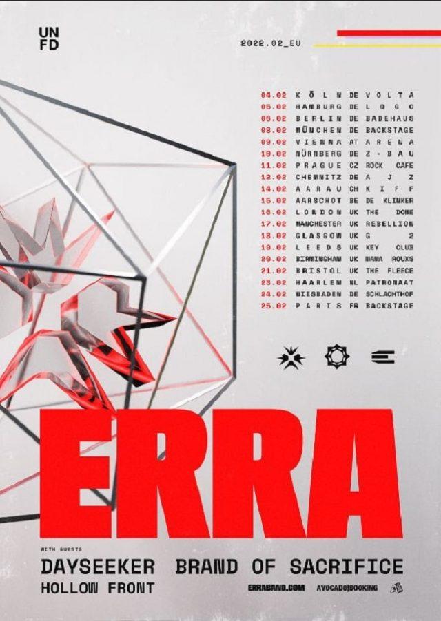 Erra annonce une tournée européenne avec Dayseeker, Brand Of Sacrifice et Hollow Front
